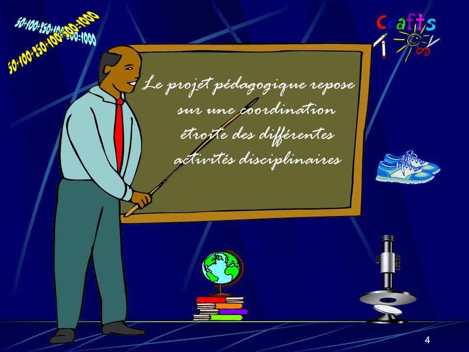 4 Le projet pédagogique repose sur une coordination étroite des différentes activités disciplinaires