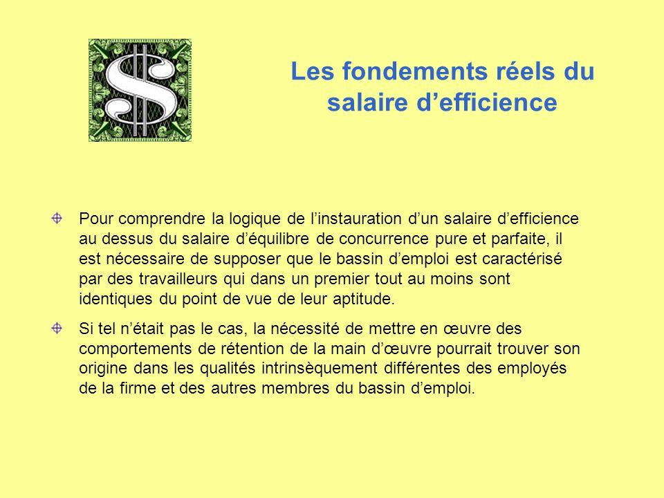 Pour comprendre la logique de l'instauration d'un salaire d'efficience au dessus du salaire d'équilibre de concurrence pure et parfaite, il est nécess