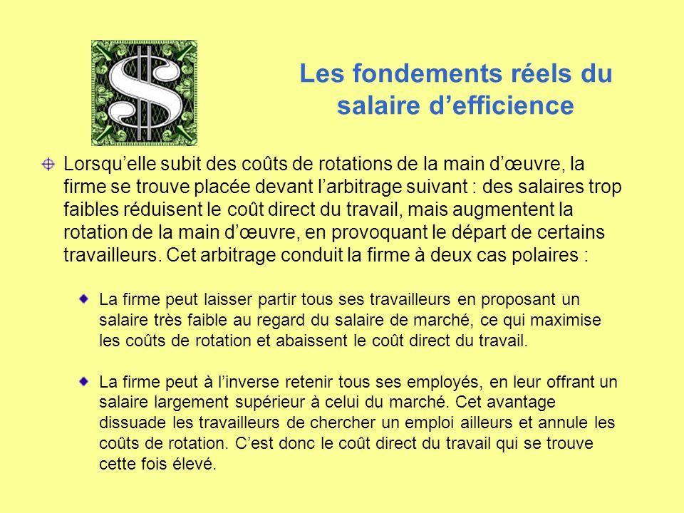 Lorsqu'elle subit des coûts de rotations de la main d'œuvre, la firme se trouve placée devant l'arbitrage suivant : des salaires trop faibles réduisen