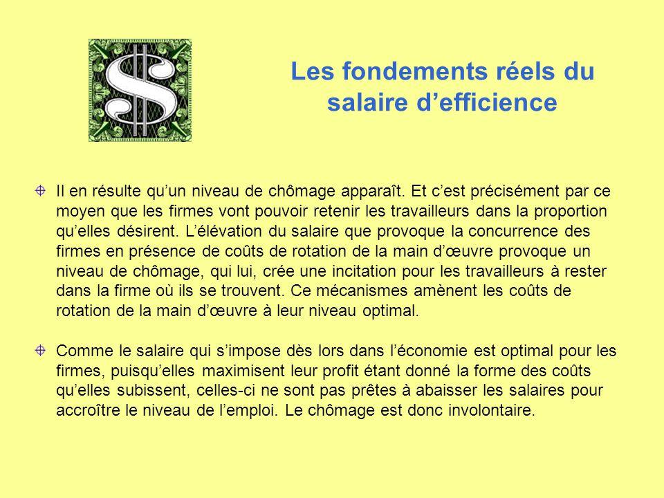 Les fondements réels du salaire d'efficience Il en résulte qu'un niveau de chômage apparaît. Et c'est précisément par ce moyen que les firmes vont pou