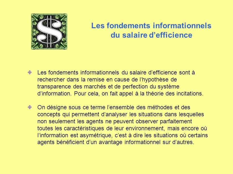 Les fondements informationnels du salaire d'efficience Les fondements informationnels du salaire d'efficience sont à rechercher dans la remise en caus