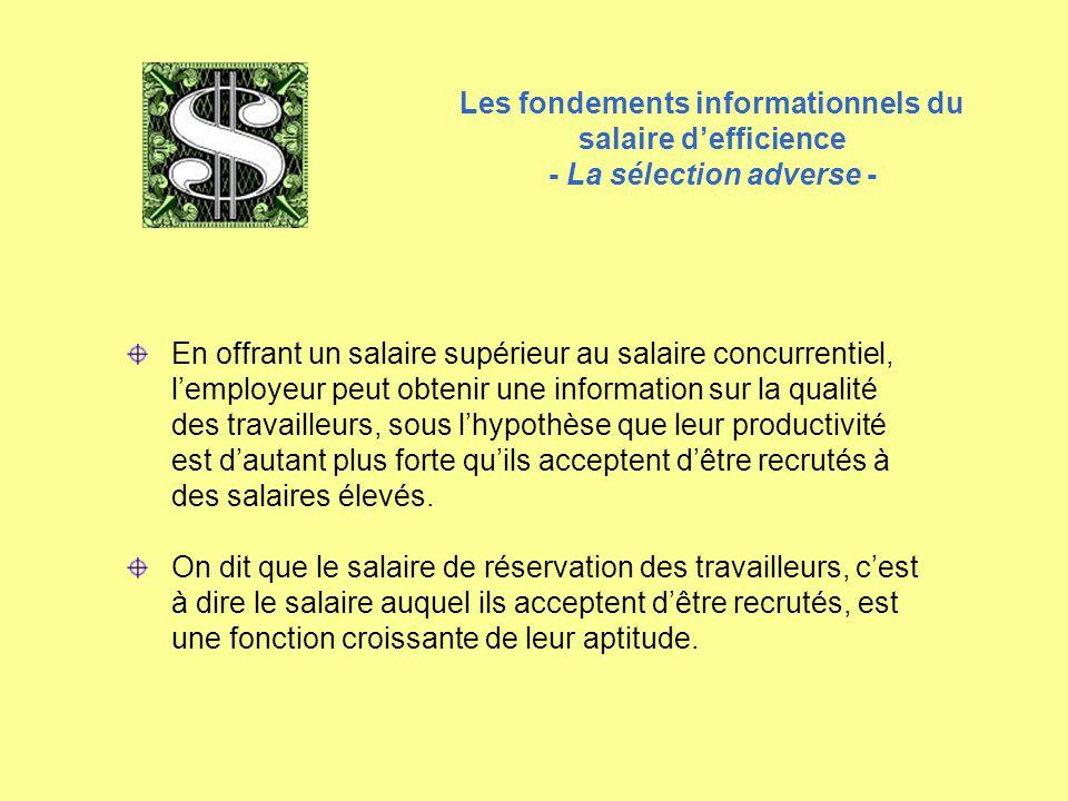 Les fondements informationnels du salaire d'efficience - La sélection adverse - En offrant un salaire supérieur au salaire concurrentiel, l'employeur