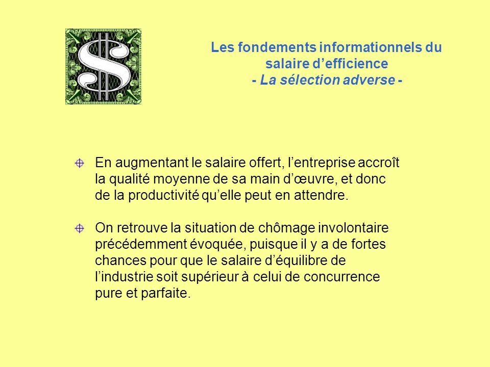 Les fondements informationnels du salaire d'efficience - La sélection adverse - En augmentant le salaire offert, l'entreprise accroît la qualité moyen