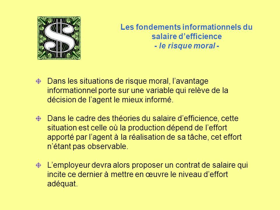 Dans les situations de risque moral, l'avantage informationnel porte sur une variable qui relève de la décision de l'agent le mieux informé. Dans le c