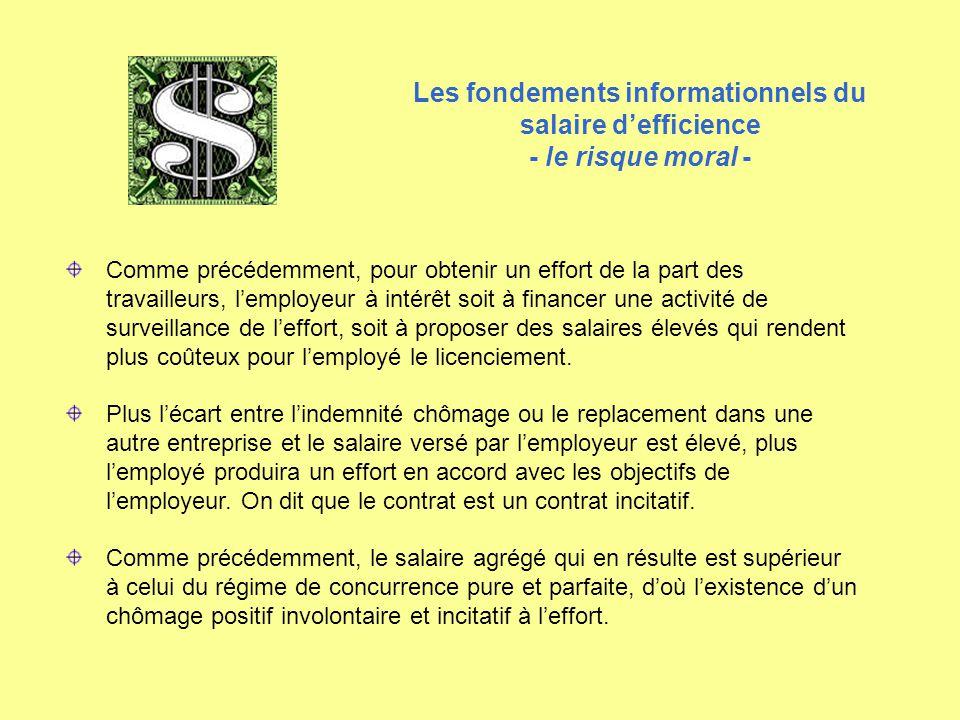 Les fondements informationnels du salaire d'efficience - le risque moral - Comme précédemment, pour obtenir un effort de la part des travailleurs, l'e
