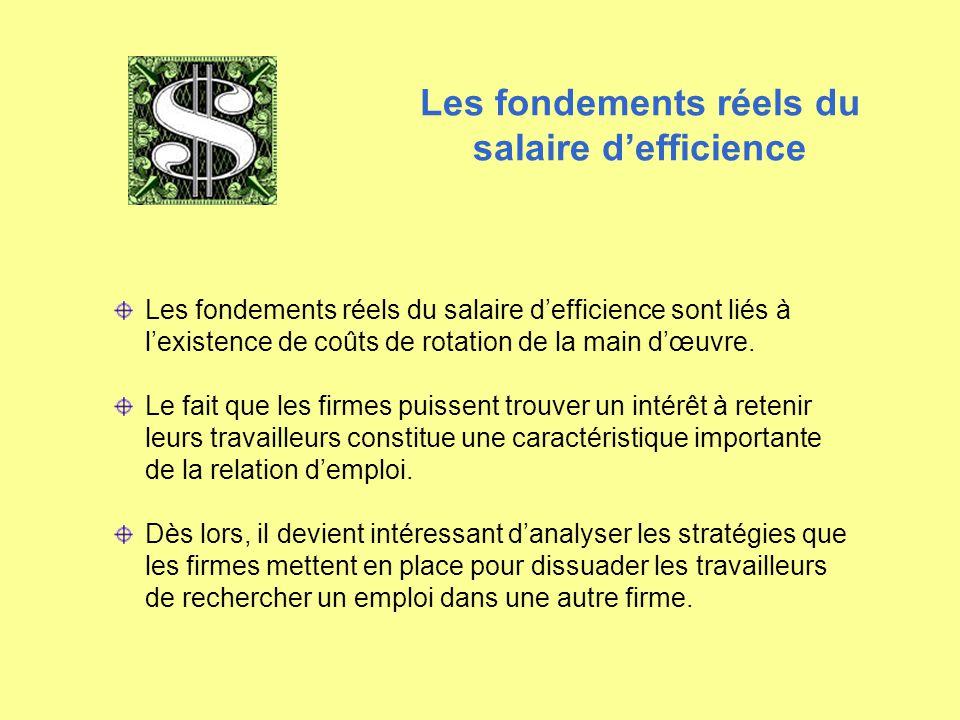Les fondements réels du salaire d'efficience Les fondements réels du salaire d'efficience sont liés à l'existence de coûts de rotation de la main d'œu