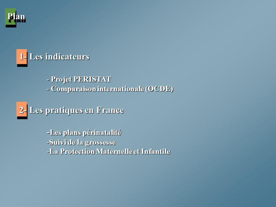 1- Les indicateurs - Projet PERISTAT - Comparaison internationale (OCDE) 2- Les pratiques en France - Les plans périnatalité -Suivi de la grossesse -L