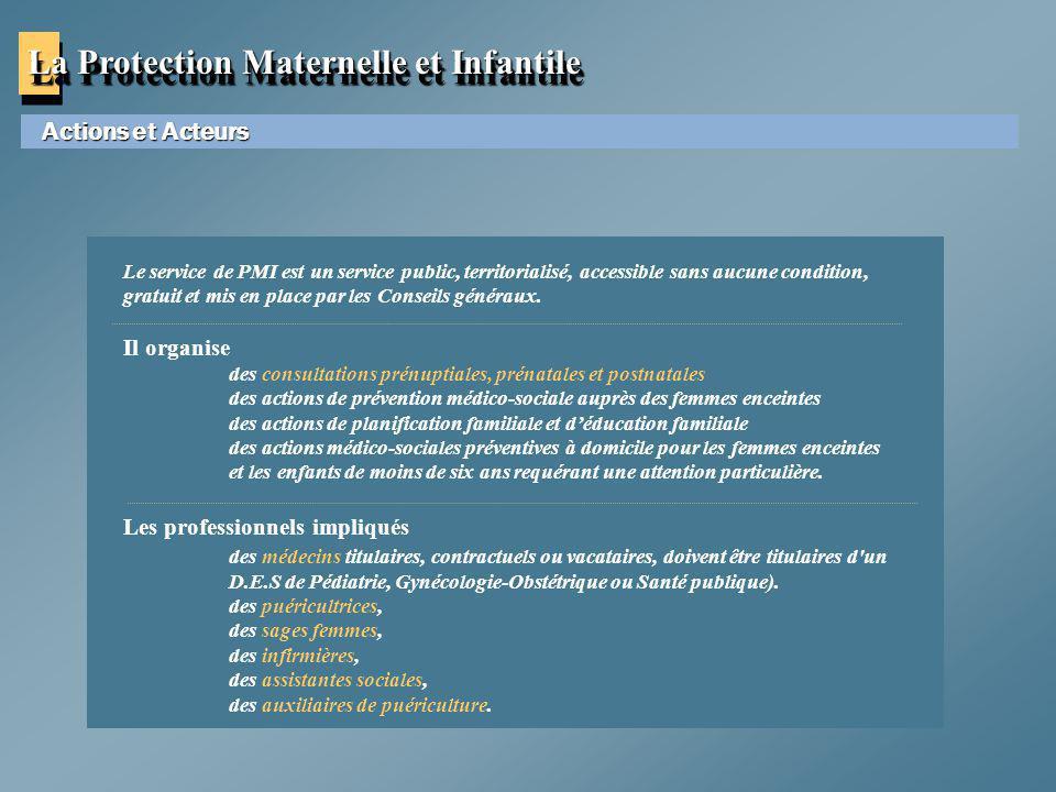 La Protection Maternelle et Infantile Actions et Acteurs Le service de PMI est un service public, territorialisé, accessible sans aucune condition, gr