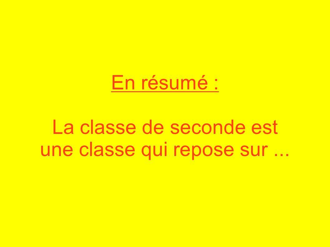 En résumé : La classe de seconde est une classe qui repose sur...