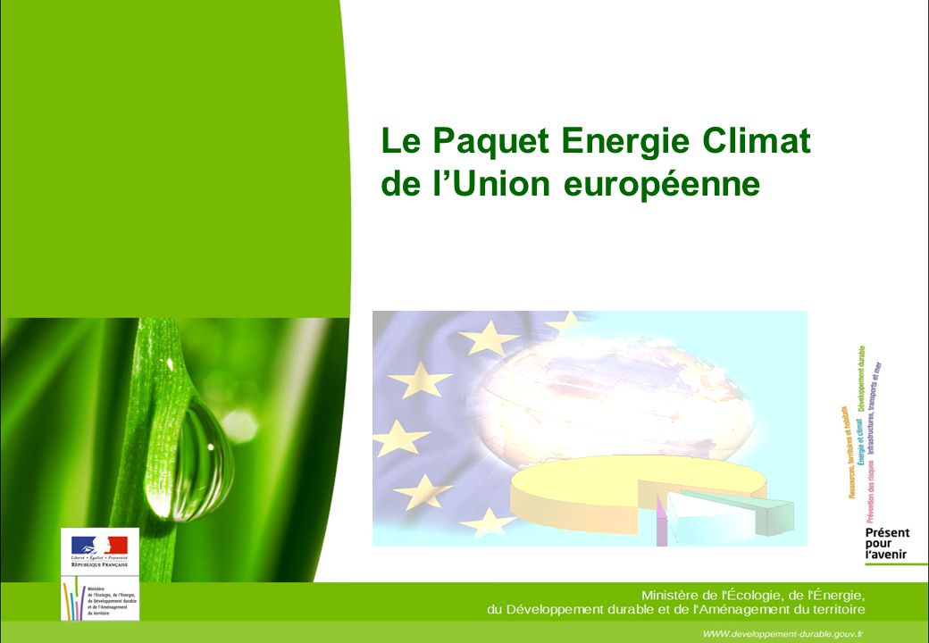 Objectif communautaire : 3 x 20 en 2020 , adopté par le Conseil européen de printemps en 2007 :  20% reduction des émissions de GES entre 1990 et 2020.