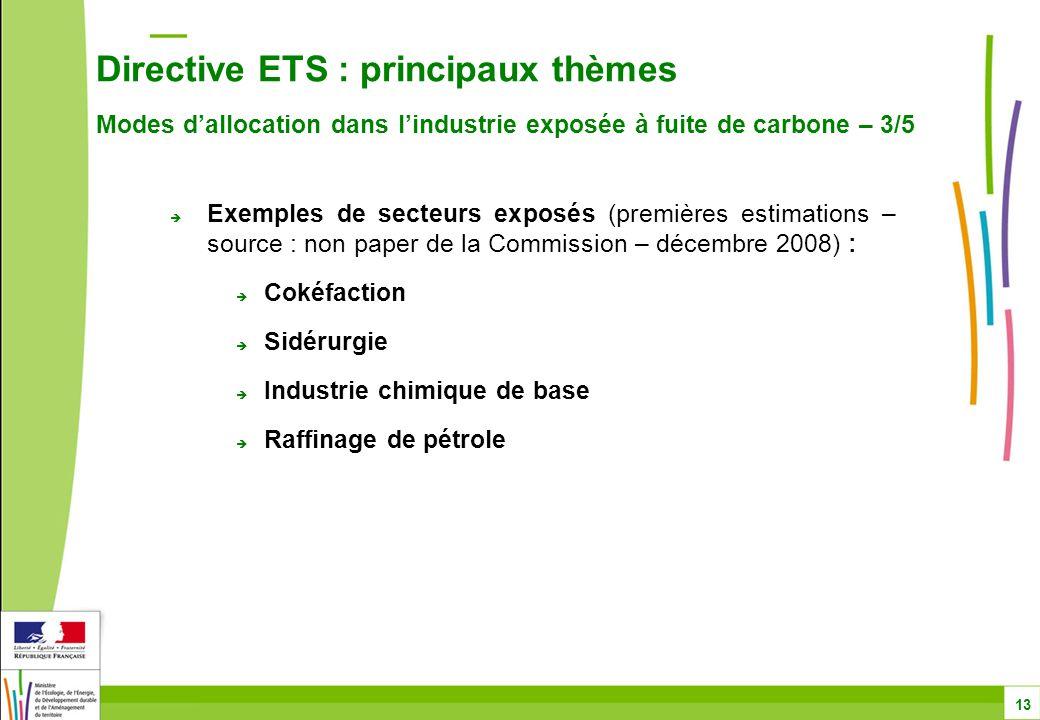 Directive ETS : principaux thèmes Modes d'allocation dans l'industrie exposée à fuite de carbone – 3/5 13  Exemples de secteurs exposés (premières estimations – source : non paper de la Commission – décembre 2008) :  Cokéfaction  Sidérurgie  Industrie chimique de base  Raffinage de pétrole