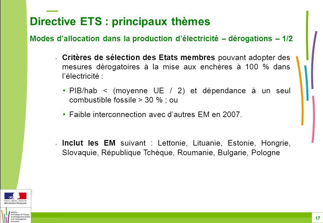 Directive ETS : principaux thèmes Modes d'allocation dans la production d'électricité – dérogations – 1/2 17 Critères de sélection des Etats membres pouvant adopter des mesures dérogatoires à la mise aux enchères à 100 % dans l'électricité : PIB/hab 30 % ; ou Faible interconnection avec d'autres EM en 2007.