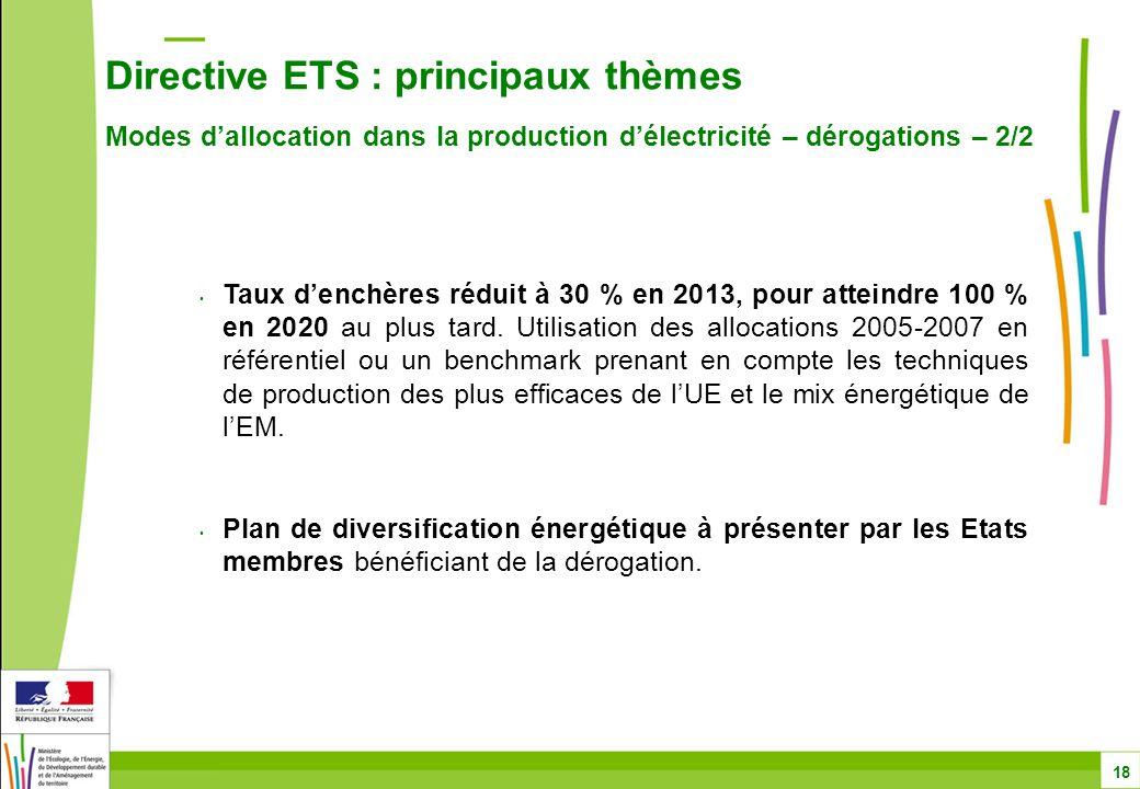 Directive ETS : principaux thèmes Modes d'allocation dans la production d'électricité – dérogations – 2/2 18 Taux d'enchères réduit à 30 % en 2013, pour atteindre 100 % en 2020 au plus tard.