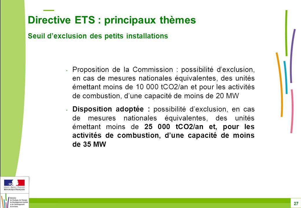 Directive ETS : principaux thèmes Seuil d'exclusion des petits installations 27 Proposition de la Commission : possibilité d'exclusion, en cas de mesures nationales équivalentes, des unités émettant moins de 10 000 tCO2/an et pour les activités de combustion, d'une capacité de moins de 20 MW Disposition adoptée : possibilité d'exclusion, en cas de mesures nationales équivalentes, des unités émettant moins de 25 000 tCO2/an et, pour les activités de combustion, d'une capacité de moins de 35 MW
