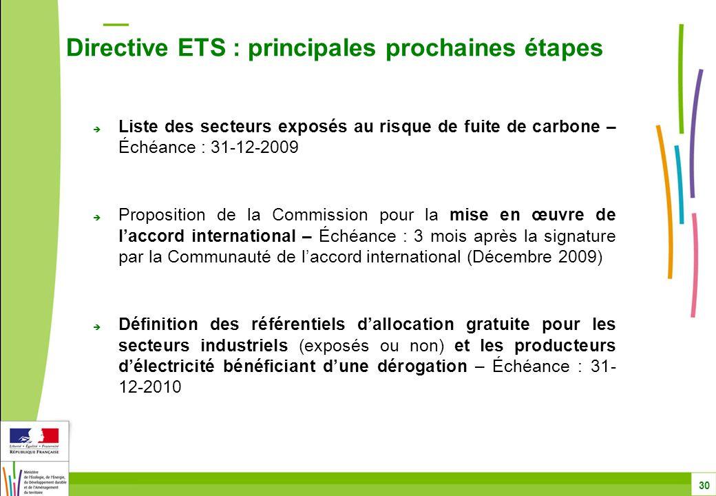  Liste des secteurs exposés au risque de fuite de carbone – Échéance : 31-12-2009  Proposition de la Commission pour la mise en œuvre de l'accord international – Échéance : 3 mois après la signature par la Communauté de l'accord international (Décembre 2009)  Définition des référentiels d'allocation gratuite pour les secteurs industriels (exposés ou non) et les producteurs d'électricité bénéficiant d'une dérogation – Échéance : 31- 12-2010 Directive ETS : principales prochaines étapes 30
