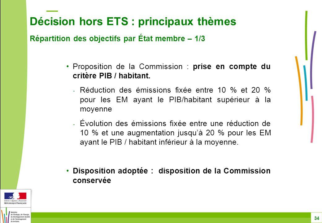 Décision hors ETS : principaux thèmes Répartition des objectifs par État membre – 1/3 34 Proposition de la Commission : prise en compte du critère PIB / habitant.