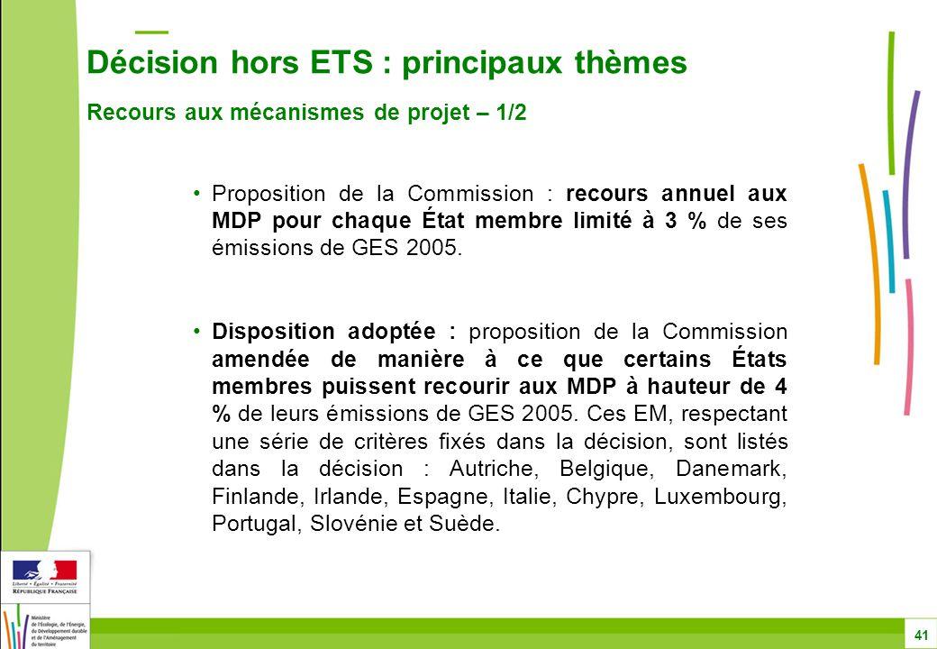 Décision hors ETS : principaux thèmes Recours aux mécanismes de projet – 1/2 41 Proposition de la Commission : recours annuel aux MDP pour chaque État membre limité à 3 % de ses émissions de GES 2005.