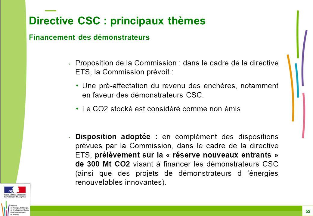Directive CSC : principaux thèmes Financement des démonstrateurs 52 Proposition de la Commission : dans le cadre de la directive ETS, la Commission prévoit : Une pré-affectation du revenu des enchères, notamment en faveur des démonstrateurs CSC.