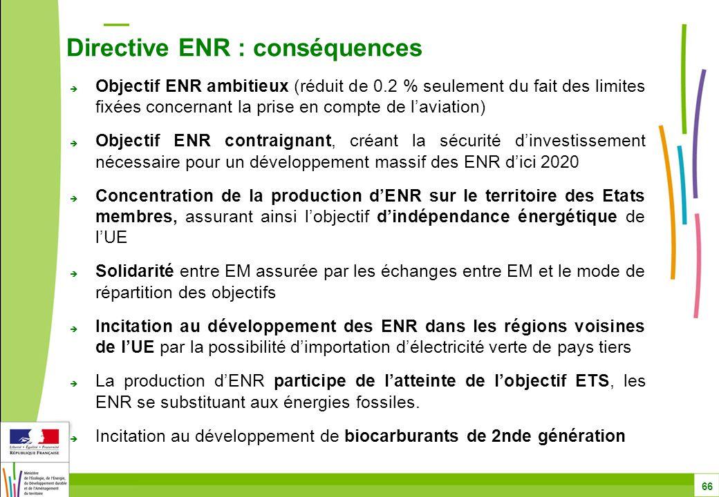  Objectif ENR ambitieux (réduit de 0.2 % seulement du fait des limites fixées concernant la prise en compte de l'aviation)  Objectif ENR contraignant, créant la sécurité d'investissement nécessaire pour un développement massif des ENR d'ici 2020  Concentration de la production d'ENR sur le territoire des Etats membres, assurant ainsi l'objectif d'indépendance énergétique de l'UE  Solidarité entre EM assurée par les échanges entre EM et le mode de répartition des objectifs  Incitation au développement des ENR dans les régions voisines de l'UE par la possibilité d'importation d'électricité verte de pays tiers  La production d'ENR participe de l'atteinte de l'objectif ETS, les ENR se substituant aux énergies fossiles.