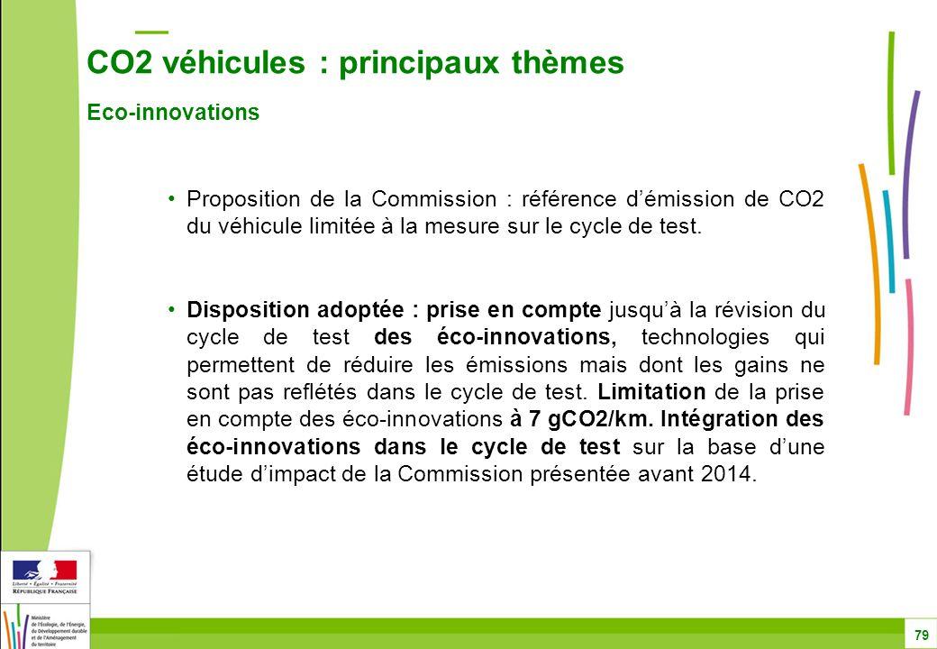 CO2 véhicules : principaux thèmes Eco-innovations 79 Proposition de la Commission : référence d'émission de CO2 du véhicule limitée à la mesure sur le cycle de test.