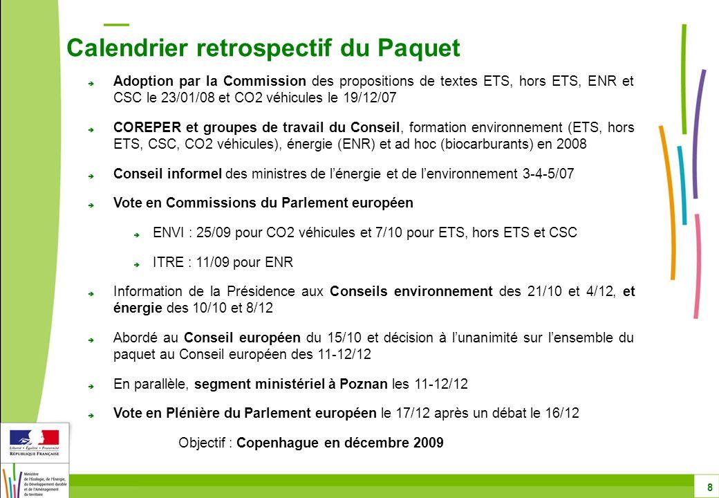 Directive ETS : principaux thèmes Aviation – points décidés dans la directive ETS - aviation 29 Montant total de quotas en 2012 : 97 % des émissions moyennes de l aviation en 2004-2005- 2006 à partir de 2013 : 95 % des émissions moyennes de l aviation en 2004-2005-2006 A partir de 2012 et pour toute la période, 15 % des quotas seront mis aux enchères Allocation des quotas gratuits sur la base d'un benchmark - tonnes.kilomètres Crédits de projet : en 2012, recours à hauteur de 15 % du montant des quotas à restituer à partir de 2013, recours à hauteur au moins de 1.5 % des émissions vérifiées.