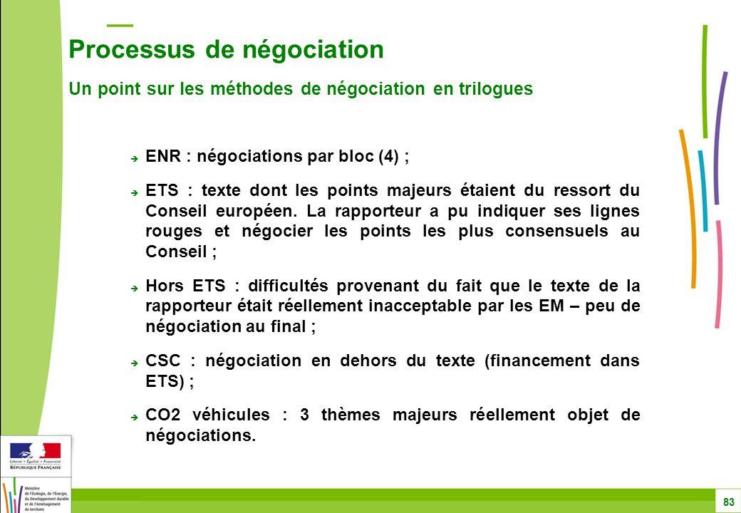 Processus de négociation Un point sur les méthodes de négociation en trilogues 83  ENR : négociations par bloc (4) ;  ETS : texte dont les points majeurs étaient du ressort du Conseil européen.