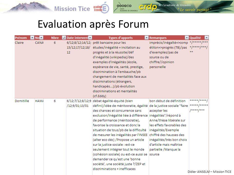 Evaluation après Forum Didier ANSELM – Mission TICE