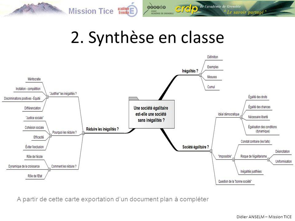 2. Synthèse en classe Didier ANSELM – Mission TICE A partir de cette carte exportation d'un document plan à compléter