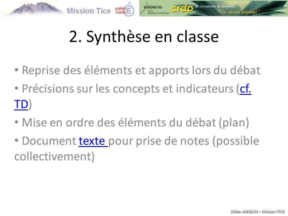 Reprise des éléments et apports lors du débat Précisions sur les concepts et indicateurs (cf.