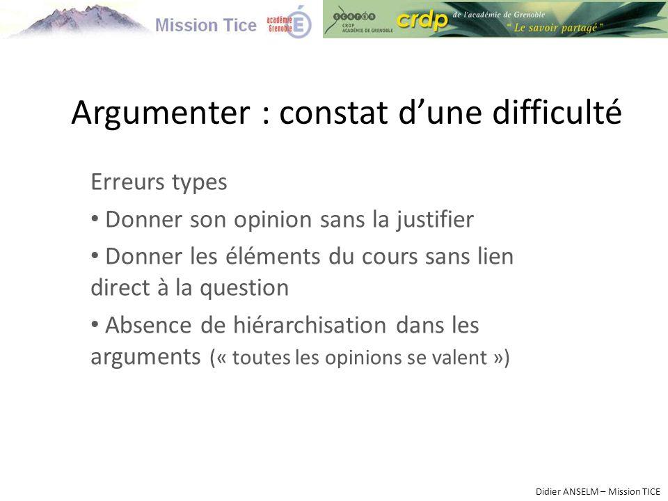 Argumenter : constat d'une difficulté Erreurs types Donner son opinion sans la justifier Donner les éléments du cours sans lien direct à la question A