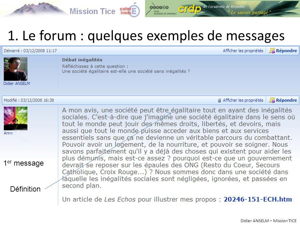 1. Le forum : quelques exemples de messages Didier ANSELM – Mission TICE 1 er message Définition