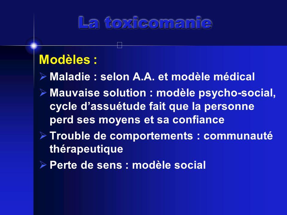 La toxicomanie Modèles :  Maladie : selon A.A.