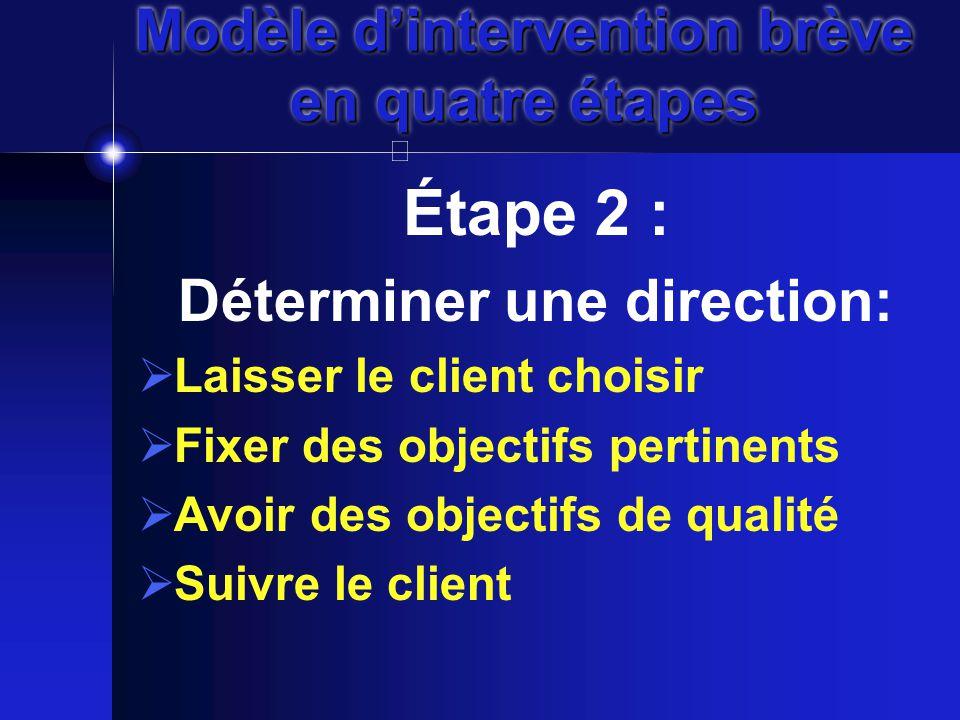 Modèle d'intervention brève en quatre étapes Étape 2 : Déterminer une direction:  Laisser le client choisir  Fixer des objectifs pertinents  Avoir des objectifs de qualité  Suivre le client