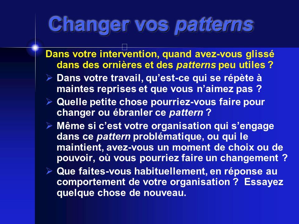 Changer vos patterns Dans votre intervention, quand avez-vous glissé dans des ornières et des patterns peu utiles .