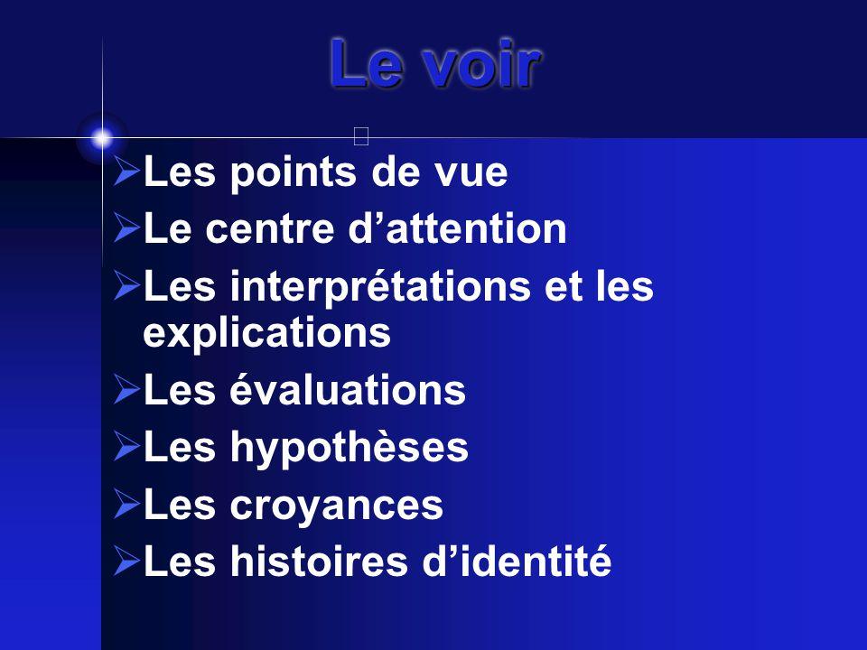 Le voir  Les points de vue  Le centre d'attention  Les interprétations et les explications  Les évaluations  Les hypothèses  Les croyances  Les histoires d'identité