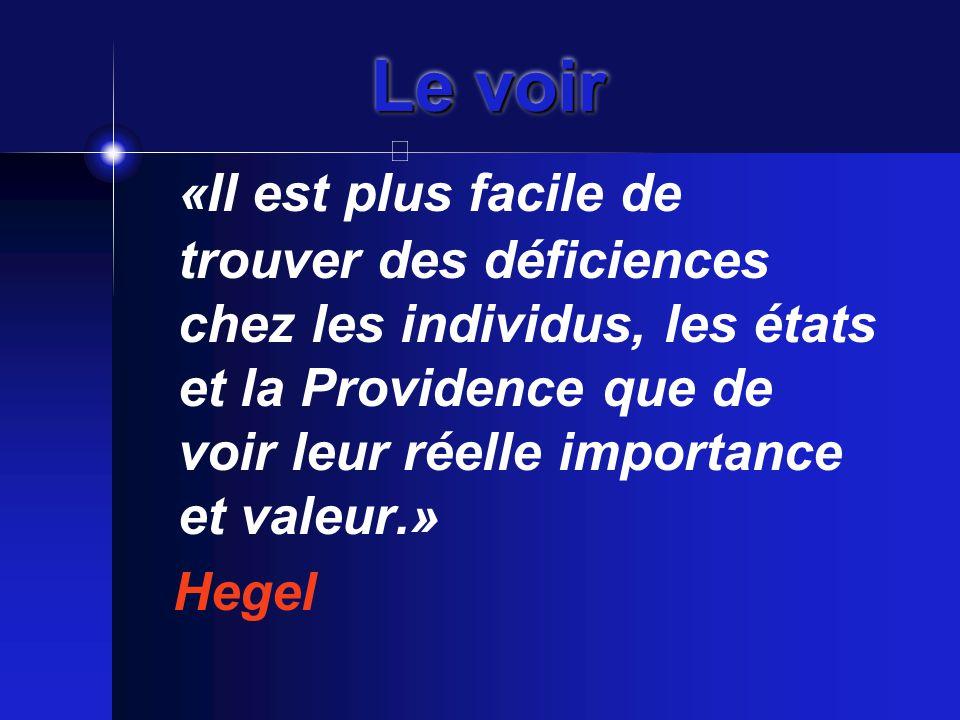 Le voir «Il est plus facile de trouver des déficiences chez les individus, les états et la Providence que de voir leur réelle importance et valeur.» Hegel