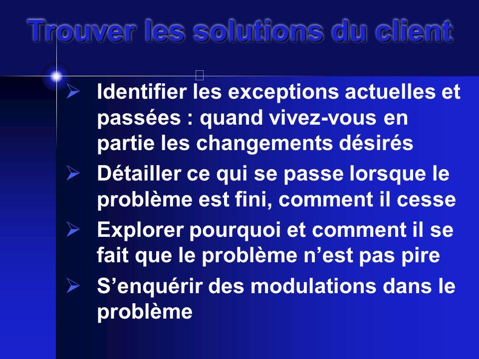 Trouver les solutions du client  Identifier les exceptions actuelles et passées : quand vivez-vous en partie les changements désirés  Détailler ce qui se passe lorsque le problème est fini, comment il cesse  Explorer pourquoi et comment il se fait que le problème n'est pas pire  S'enquérir des modulations dans le problème