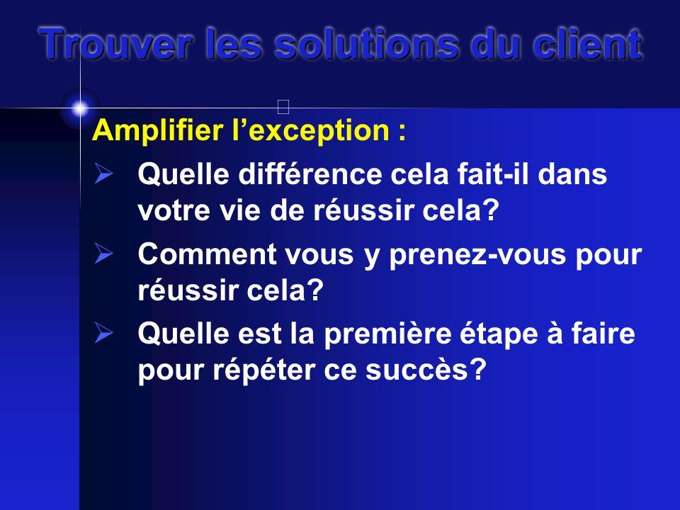 Trouver les solutions du client Amplifier l'exception :  Quelle différence cela fait-il dans votre vie de réussir cela.