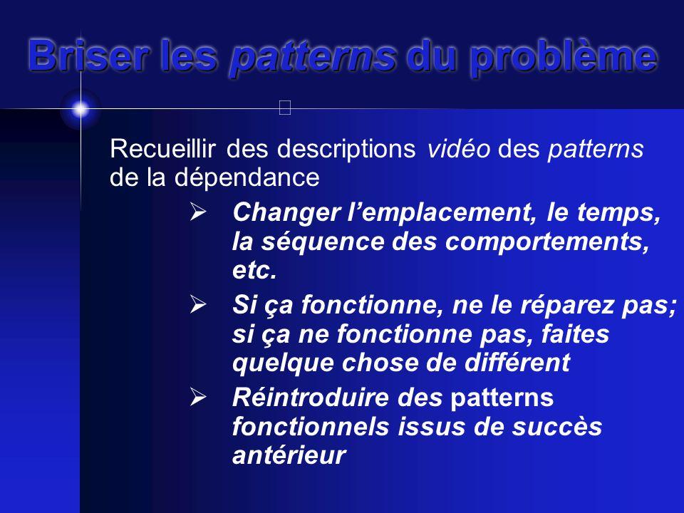 Briser les patterns du problème Recueillir des descriptions vidéo des patterns de la dépendance  Changer l'emplacement, le temps, la séquence des comportements, etc.