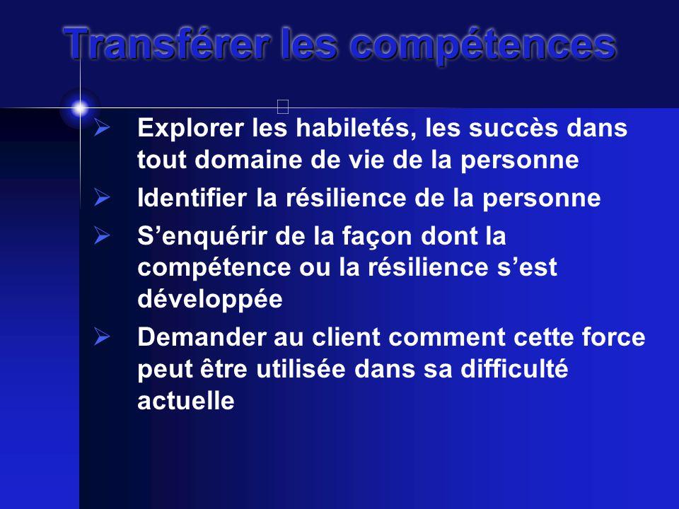 Transférer les compétences  Explorer les habiletés, les succès dans tout domaine de vie de la personne  Identifier la résilience de la personne  S'enquérir de la façon dont la compétence ou la résilience s'est développée  Demander au client comment cette force peut être utilisée dans sa difficulté actuelle