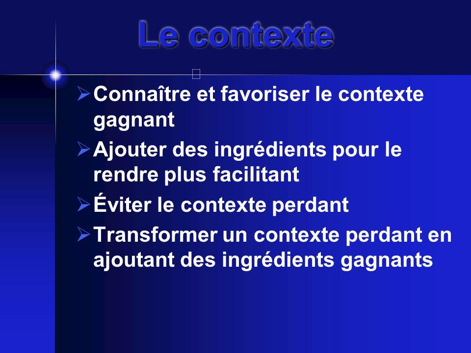 Le contexte  Connaître et favoriser le contexte gagnant  Ajouter des ingrédients pour le rendre plus facilitant  Éviter le contexte perdant  Transformer un contexte perdant en ajoutant des ingrédients gagnants
