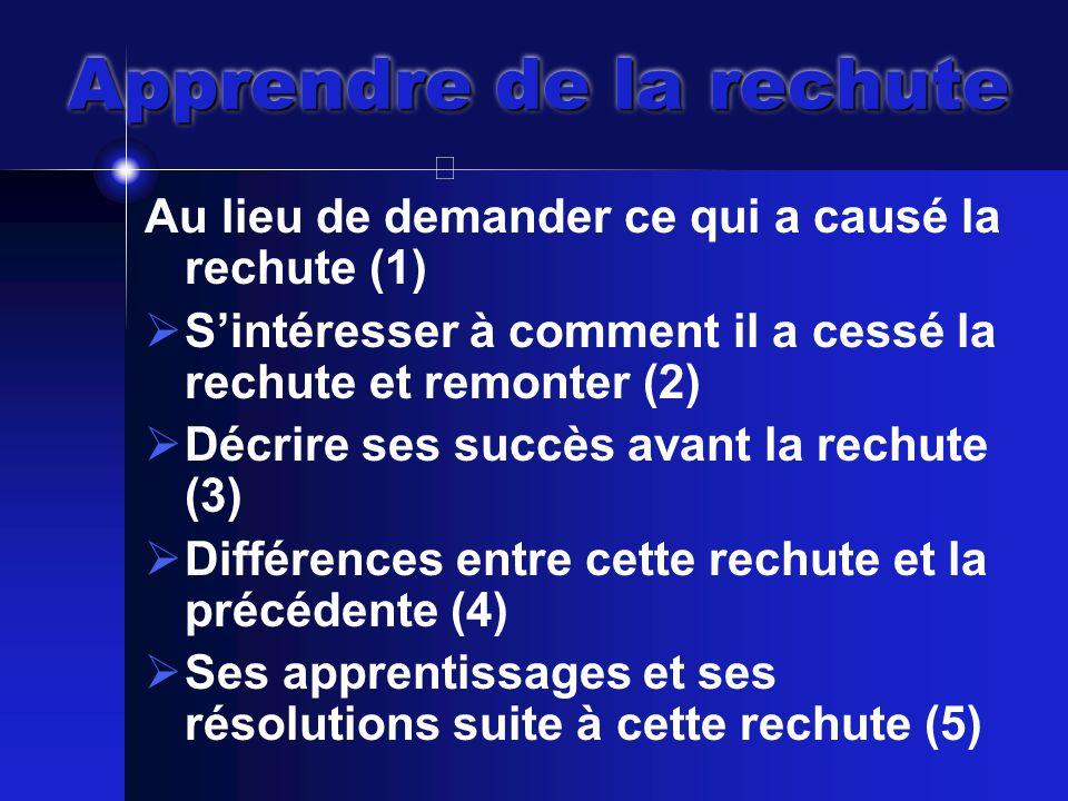 Au lieu de demander ce qui a causé la rechute (1)  S'intéresser à comment il a cessé la rechute et remonter (2)  Décrire ses succès avant la rechute (3)  Différences entre cette rechute et la précédente (4)  Ses apprentissages et ses résolutions suite à cette rechute (5)
