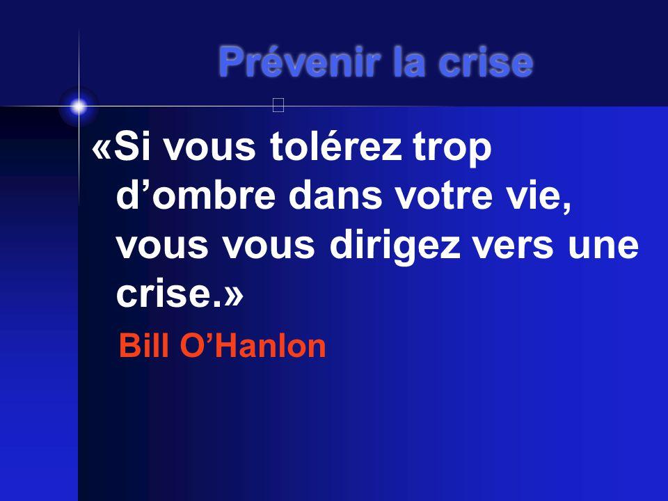 Prévenir la crise «Si vous tolérez trop d'ombre dans votre vie, vous vous dirigez vers une crise.» Bill O'Hanlon