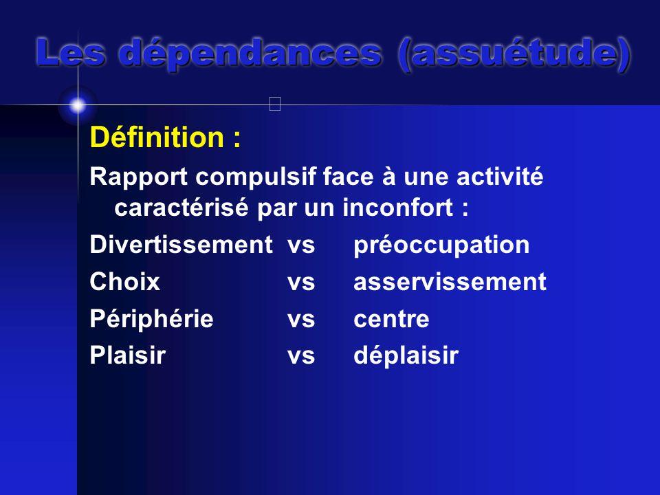 Les dépendances (assuétude) Définition : Rapport compulsif face à une activité caractérisé par un inconfort : Divertissement vspréoccupation Choixvsasservissement Périphérievscentre Plaisirvsdéplaisir