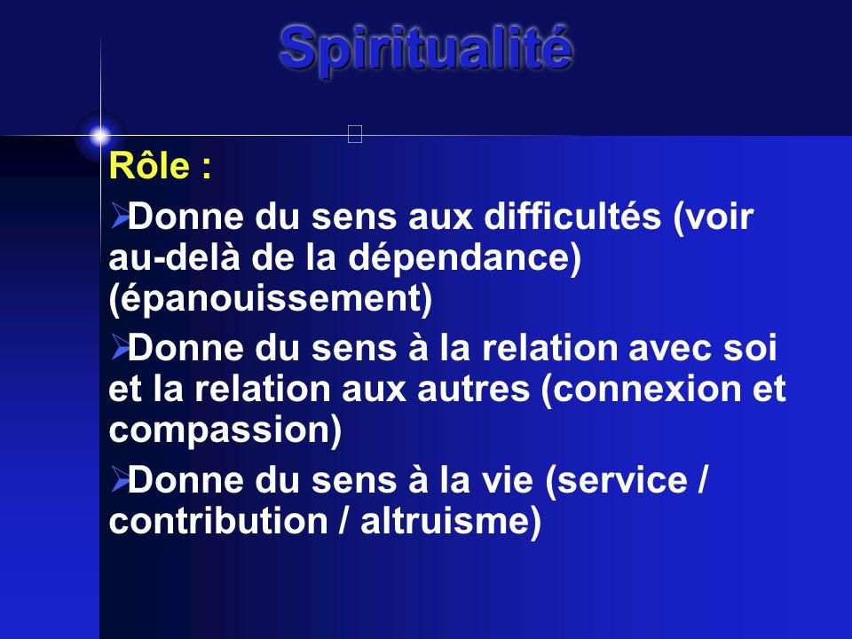 SpiritualitéSpiritualité Rôle :  Donne du sens aux difficultés (voir au-delà de la dépendance) (épanouissement)  Donne du sens à la relation avec soi et la relation aux autres (connexion et compassion)  Donne du sens à la vie (service / contribution / altruisme)