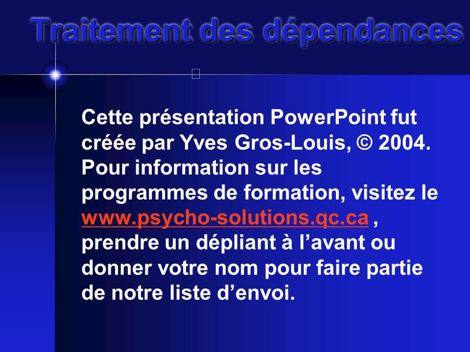 Traitement des dépendances Cette présentation PowerPoint fut créée par Yves Gros-Louis, © 2004.