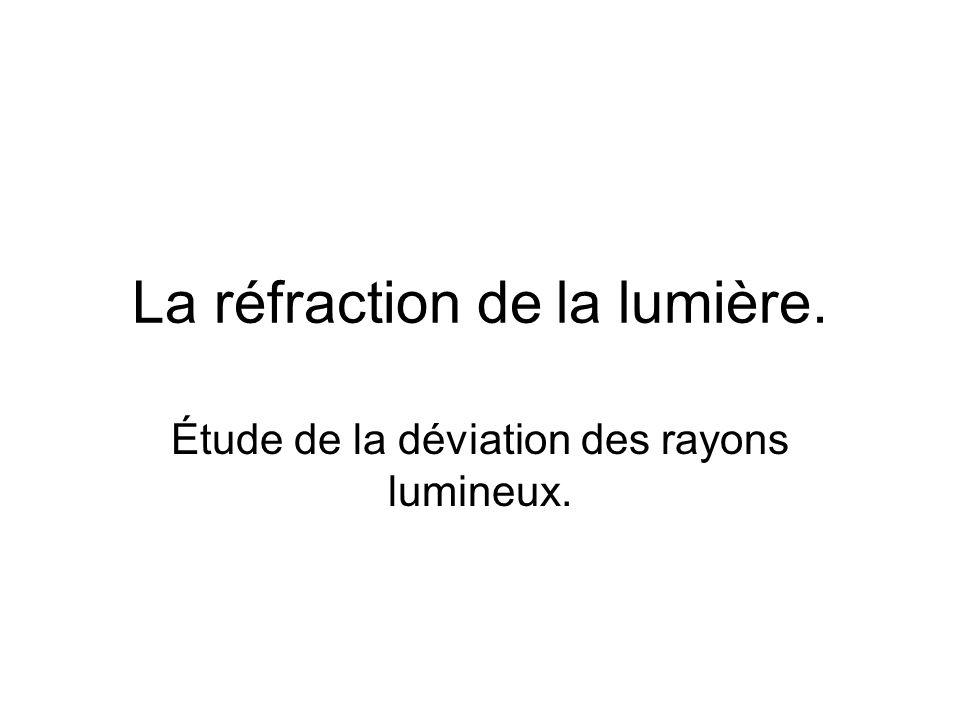 La réfraction de la lumière. Étude de la déviation des rayons lumineux.