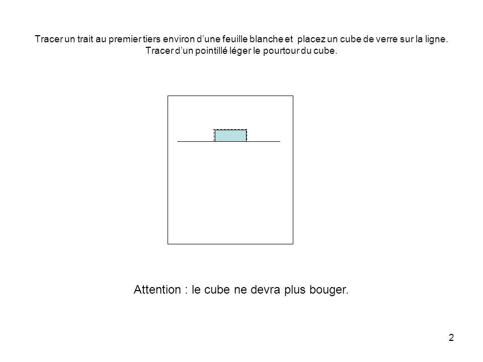 2 Tracer un trait au premier tiers environ d'une feuille blanche et placez un cube de verre sur la ligne.