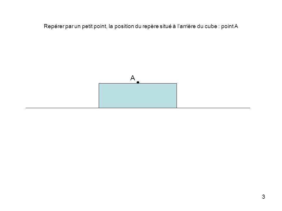 3 Repérer par un petit point, la position du repère situé à l'arrière du cube : point A A