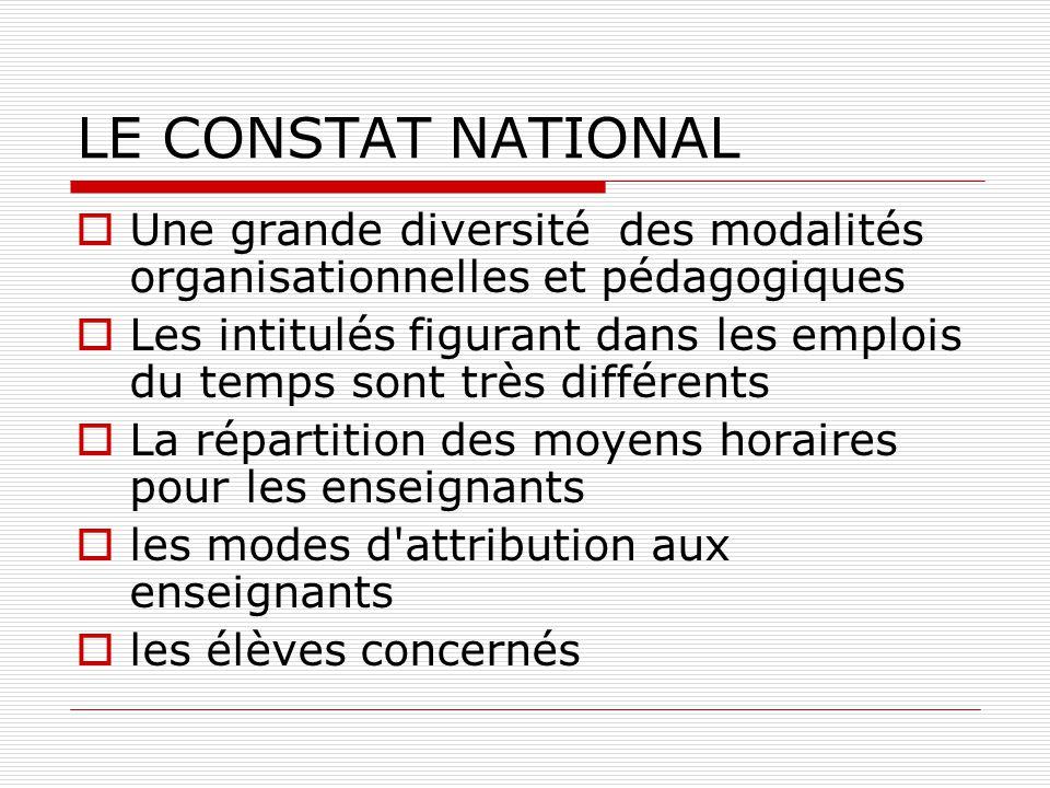 LE CONSTAT NATIONAL  Une grande diversité des modalités organisationnelles et pédagogiques  Les intitulés figurant dans les emplois du temps sont tr